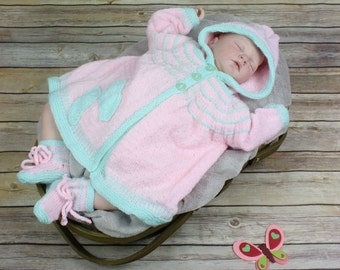Baby Knitting Pattern Hooded Butterfly Jacket & Booties Knitting Pattern DIGITAL DOWNLOAD 123