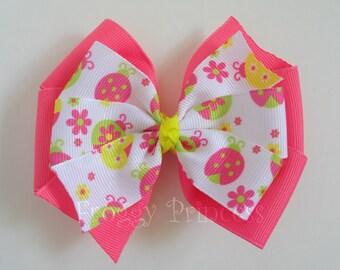 Ladybug Bow - Double Pinwheel - No Slip Velvet Grip Hair Clip
