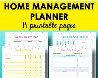 House Management Planner, Home Organization Binder Printables, Home Management Binder, Household Organization, Letter Size, Instant Download
