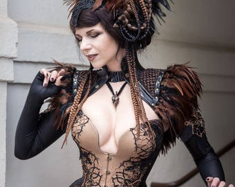 Gothic costume, steampunk dress, Halloween outfit, skirt, corset and bolero with feathers, Harpy look, made to order