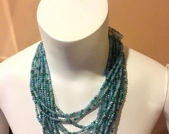 Multi strand Blue Beaded Necklace