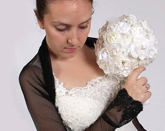 Bridal  tulle black bolero/jacket/ long sleeves wedding bolero/cover up