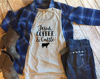Jesus, Coffee and Cattle Ladies Muscle Tank, Farm, Farmer, Cows