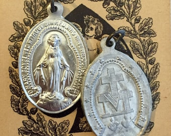 2pcs VINTAGE MIRACULOUS MEDALS Religious Virgin Mary France Signed Penin & Bouix