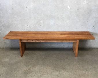 1960's Oak & Walnut Wood Bench (138F8R)