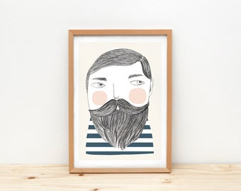 Bearded man art print, illustration by depeapa, sailor, bearded man wall art, A4, sailor drawing, wall decor, kids room decor, hipster
