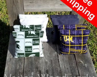 """FREE SHIPPING! Michigan Spartans / Michigan Wolverines set of 8 corn hole bags, top notch quality: 6"""" regulation size! - Beta"""