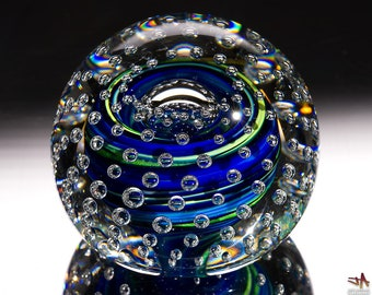 Hand Blown Glass Paperweight - Blue and Green Swirls with Bubble Grid