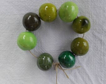 shades of green ceramic beads