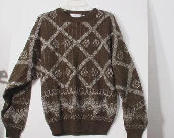 olive green sweater argyle knit art L large 48 50 acrylic olive military green wild men grunge