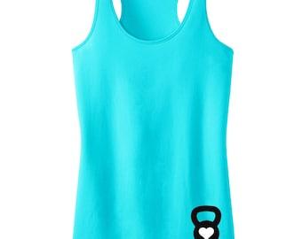 Kettle Belle Workout Tank Top Mini Logo Bottom Print, Aqua or Pink, Workout Clothes, Motivational Workout Tank, Kettlebelle Shirt, Gym Tank