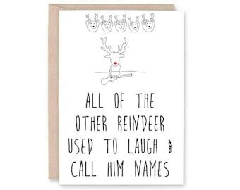 Funny Christmas Card - reindeer christmas card, funny christmas, hunting christmas card, rudolf christmas card, rudolf card, reindeer card