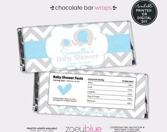 Elephant Baby Shower Chocolate Bar Wrapper - Blue Boy Elephant Baby Sprinkle Favor Candy Wrap - Baby Blue Elephant - Printable Candy Wraps