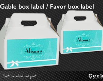 Blue Baby/Bridal Shower Gable Box Label - Digital or Printed - New Baby - Birthday - Sweet Sixteen - Shower