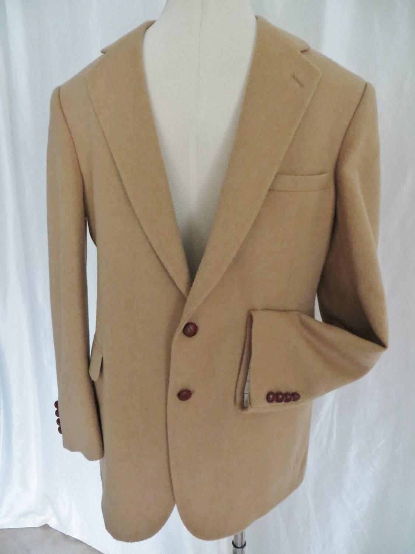Vintage 80s Evan Picone mens sports coat, sportsjacket, blazer, suit jacket, wool, camel tan, size 46 L