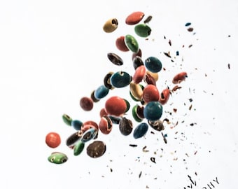 The Gravity of Sweets - Colorful Candy Photograph Wall Art with a Unique Perspective Falling Candy Art Photography