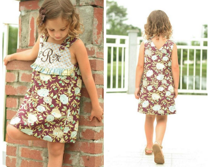 PRINTED Girls Dress Pattern: Daphne Wrap Dress and Top - Size 6 Month - 10 Years