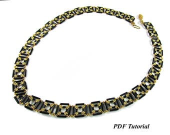 "Bugle Bead Tutorial, DIY Necklace, Jewelry Tutorial, Necklace Pattern, PDF Tutorial, Beaded Necklace, Beadweaving Tutorial, ""Squared Bugles"""