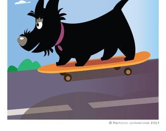 Scottie and skateboard Digital PRINT