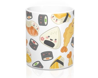 Itadakimasu! - Ceramic Mug, Coffee Mug, Tea, Sushi, Maki, Tempura, Onigiri, Japanese Food, Foodie Gift, Cute, Kawaii, 11 Oz, Custom Colour