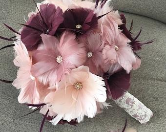 Bridal bouquet,Wedding accessory,Brooch bouquet,Wedding bouquet,Feather bouquet, Gatsby wedding,Alternative bouquet,YOUR CHOICE COLOR