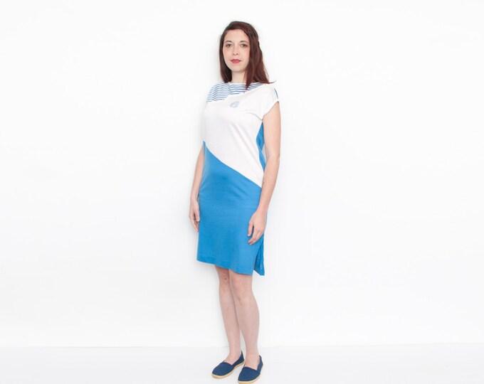 Dead Stock vintage Dress blue and white beachwear summer tshirt dress