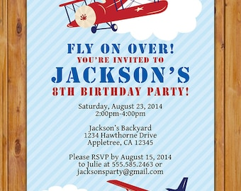 Airplane Birthday Party Invite Pilot Red White Blue Air Plane Planes Fly on Over Kid's Printable Invitation 5x7 Digital JPG File (277)