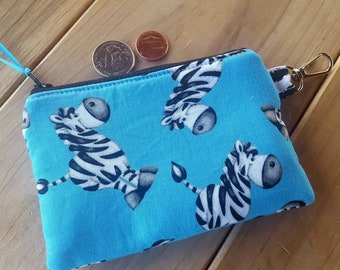 Zebra Coin Purse, Kids Zipper Wallet, Zebra Change Purse, Girl's Coin Purse, Ear Bud Pouch, Lunch money Pouch, credit card pouch