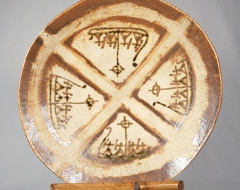 Large Studio Pottery Platter with Viking Design, Marked, Freeform, Tripod Footed