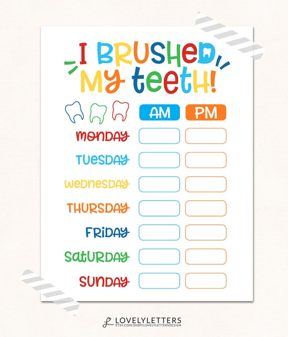 Obsessed image within printable tooth brushing chart