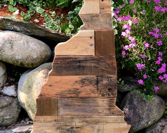 Reclaimed Wood NH State Silhouette Home Decor