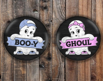 Boo-y or Ghoul halloween themed gender reveal pins.  Chalkboard style with pink and blue.