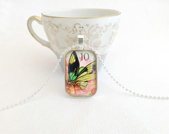 butterfly necklace, postage stamp jewelry, butterfly stamp necklace, Papua New Guinea 1975
