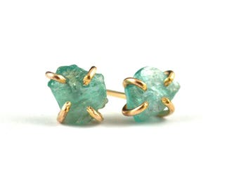 Apatite stud earrings - rough apatite jewelry- gold filled post earrings -  rough stone studs - gift for her - blue apatite earrings