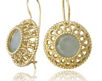 Gold Filigree Aquamarine Earrings, Statement Earrings, Aquamarine Jewelry, Filigree Earrings, Vintage Style Earrings, Art Nouveau Jewelry