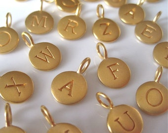 24K Gold Plated Vermeil Small Letter Charm - 1 Letter of Your Choice
