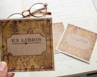 botanical bookplates - personalized book plates - Ex Libris - bookplate stickers - custom bookplate - bookworm for him - opaque book label