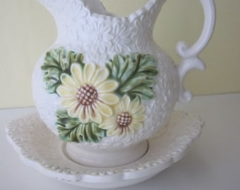 Vintage Pitcher on Saucer.  White on White Relief Daisies, Painted Daisies. Parma by AAI Made in Japan
