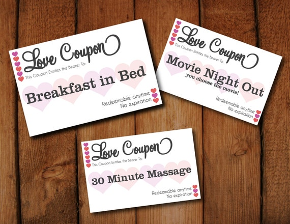 Editable Love Coupons DIY Instant download digital template