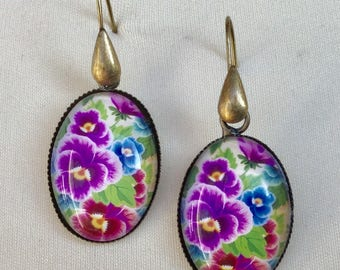 Whimsical - old gold - floral glass cabochon earrings