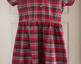 Vintage 1950s Girls' Princess Pat Gray Brown Red Plaid Cotton Short Sleeve Dress 10