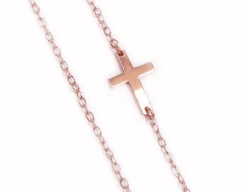 Sideways Cross Necklace, Tiny 14kt ROSE GOLDFILLED Horizontal Cross, Celebrity Inspired