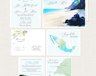 Destination wedding invitation Mexico Sayulita Mexican illustrated watercolor floral blue green beach set -  Deposit Payment
