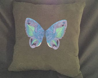 Embroidered pillow cover, butterfly throw pillow, accent pillow, decorative pillow cover,embroidered butterfly toss pillow