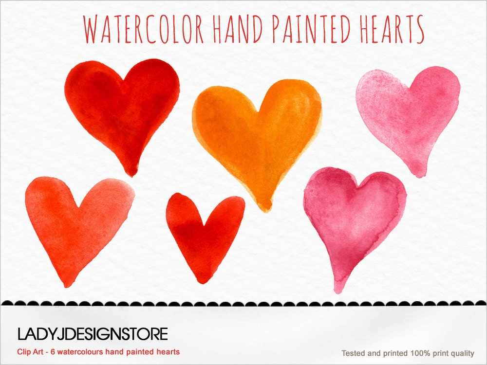 Watercolor hand painted Hearts Clip Art watercolor red