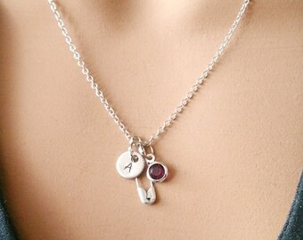 Solidarity Campaign Safety Pin Gift Handstamped Personalized Crystal Birthstone Initial Necklace