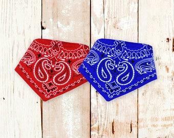 Baby Bandana Bibs - Red Classic Bandana & Blue Classic Bandana - Set of 2 baby drool bibs (or mix and match)