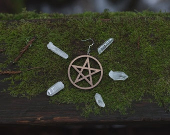 Pentacle cut out earrings, laser cut, wood, talisman, pentagram