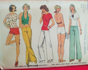 UNCUT 1974 Simplicity Pattern # 6354-Misses' Hip Hugger Pants or Shorts-Pullover Top (Raglan Sleeves)-Halter Top-BOHO-Size-8-Bust 31.5
