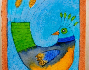 Folk Art Bird Painting - Bird Painting - Watercolor Painting - Bird Art - Bird Art - Bird Lovers - Folk Art Painting